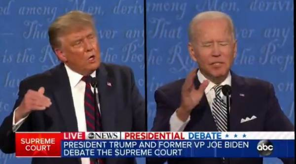 Trump Announces He Will Not Participate in Next Debate After Presidential Debate Commission Changes Debate Format to Virtual Biden-Trump-Would-You-Shut-Up-Debate-ABC-News-Screen-Image-09292020-600x333