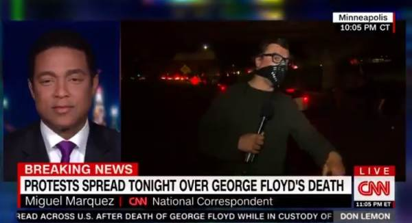 "CNN Anchor Claims Riots in Minneapolis ""Entirely Peaceful"" – Then Seconds Later Someone Throws a Bottle at Him (VIDEO)"