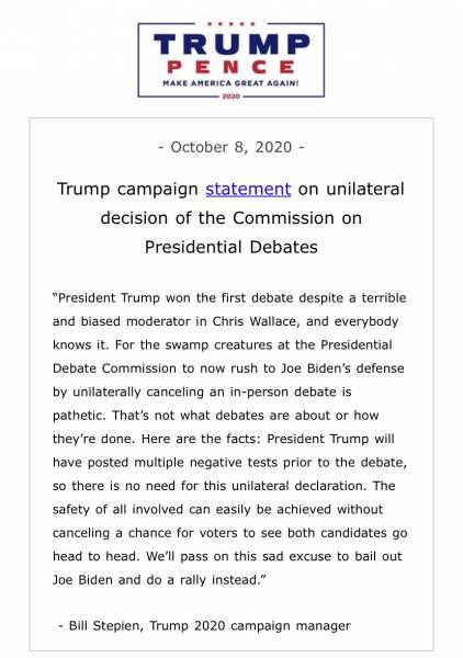 Trump Announces He Will Not Participate in Next Debate After Presidential Debate Commission Changes Debate Format to Virtual Trump-Pence-2-422x600